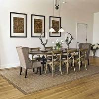Marie Burgos Design - dining rooms - oval dining table, oak dining chairs, upholstered dining chairs, jute rug, wood floor mirror, jute bag art, column, natural oak floors, pendant lighting,