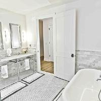 Marie Burgos Design - bathrooms - tub, carrera marble, double sinks, hexagonal tiles, his and her bath mats, border bath mats,  The master bathroom