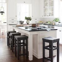 Darryl Carter - kitchens - white, kitchen cabinets, green, soapstone, countertops, custom, stools, Benjamin Moore&#039;s Phelps Black,  Gorgeous kitchen
