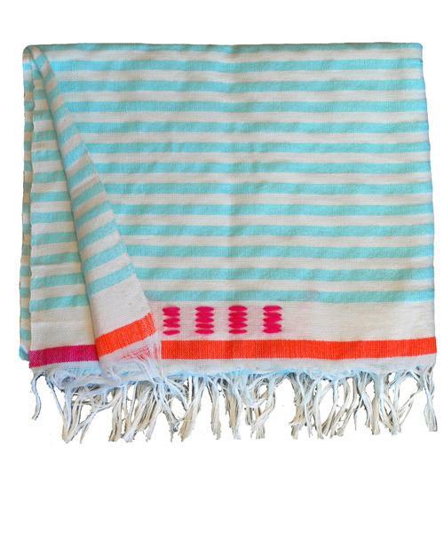 Bedding - Medium Blanket 4 | Shoppe by Amber Interior Design - turquoise, blue, stripe, blanket