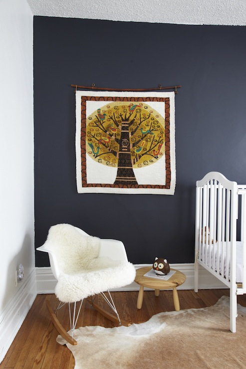 Russet and Empire Interiors - nurseries - Behr - Poppyseed - navy blue, walls, white, vintage, crib, cowhide, rug,  Fun boy&#039;s nursery design