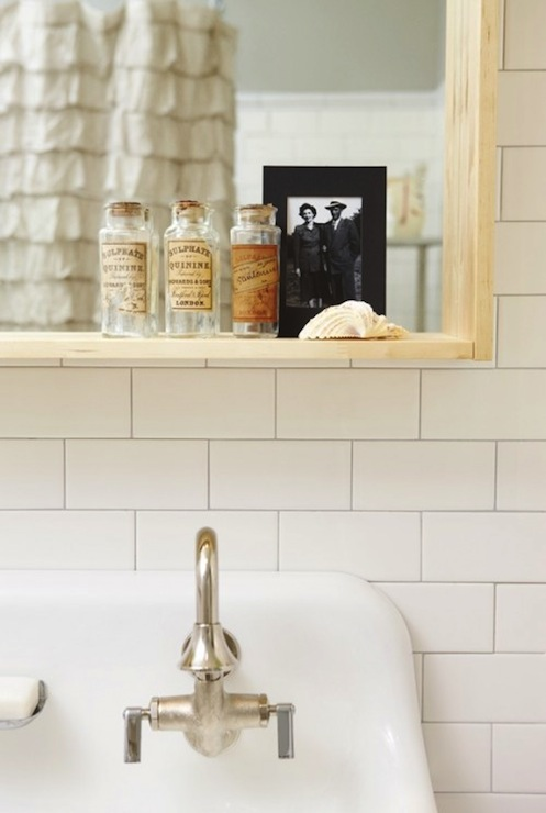 Russet and Empire Interiors - bathrooms - Behr - Ashes - Kohler Brockway Cast-Iron Wall-Mount Wash Sink, subway tiles, backsplash, vintage, bottles, gray, walls, brockway sink,