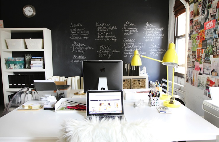 The Every Girl - dens/libraries/offices - West Elm Industrial Task Table Lamp - Turmeric, Ikea Vika Amon/ Vika Lage Desk, chalkboard, accent wall, chalkboard accent wall, chalkboard wall, office chalkboard wall,