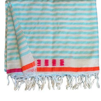 Bedding - Medium Blanket 4 | Shoppe by Amber Interior Design - turquoise, blue, stripe, blanket