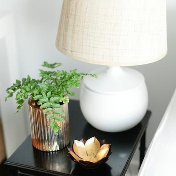 Breakfast at Toast - bedrooms - glossy, black, vintage, nightstand, white, lamp, linen, shade, lotus flower dish, lotus flower votive, lotus flower votive holder, Jayson Home Lotus Flower Dish, Jayson Home Gold Ribbed Votive Holder,