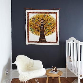 Russet and Empire Interiors - nurseries - navy blue, walls, white, vintage, crib, cowhide, rug, navy walls, navy blue walls, navy nursery walls, navy blue nursery walls, navy blue paint, navy blue paint, navy blue paint colors, navy paint colors,