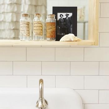 Russet and Empire Interiors - bathrooms - subway tiles, backsplash, vintage, bottles, gray, walls, brockway sink, Kohler Brockway Cast-Iron Wall-Mount Wash Sink,