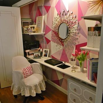Gorgeous Shiny Things - dens/libraries/offices: bi-fold, doors, god, trim, hand painted, pink, geometric, pattern accent wall, sunburst, mirror, white, floating desk, gray, Dorothy Draper, style, chest, white, slipcover, chair, closet office, office in closet, closet desk, desk in closet, closet work space, work space in closet, closet converted into office, converted closet office, converted office closet,