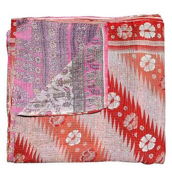 Bedding - Kantha Quilt, Orange Hibiscus | Shoppe by Amber Interior Design - kantha, quilt, orange, hibiscus