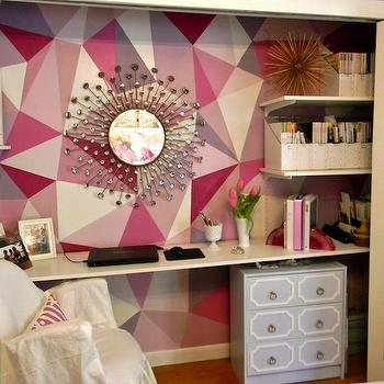 Gorgeous Shiny Things - dens/libraries/offices: white, slipcover, chair, sunburst, mirror, gray, Dorothy Draper, style, chest, white, floating desk, hand painted, pink, geometric, pattern accent wall, closet desk, closet office,