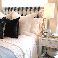 Bryn Alexandra Interiors - bedrooms - gray, headboard, nailhead, trim, blue, blanket, velvet, pillows, baby blue, lamp, blanket,  chic bedroom