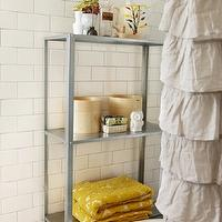 Russet and Empire Interiors - bathrooms - gray, walls, subway tiles, backsplash, clawfoot, tub, mustard, yellow, damask, towels, gray and yellow bathroom, yellow and gray bathroom, ruffles shower curtain, ruffled shower curtain, gray ruffle shower curtain, gray ruffled shower curtain, waterfall shower curtain, gray waterfall shower curtain, Urban Outfitters Waterfall Shower Curtain, Ikea Hyllis Shelving Unit,