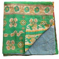 Bedding - Kantha Quilt, Green | Shoppe by Amber Interior Design - kantha, quilt, green