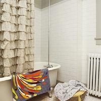 Russet and Empire Interiors - bathrooms - clawfoot, tub, gray, walls, subway tiles, backsplash, hex, vintage, tiles, floor, ruffles shower curtain, ruffled shower curtain, gray ruffle shower curtain, gray ruffled shower curtain, waterfall shower curtain, gray waterfall shower curtain, Ferm Living Wild Flower Wallpaper, Urban Outfitters Waterfall Shower Curtain,