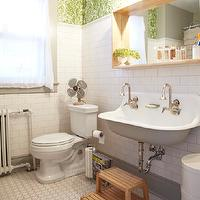 Russet and Empire Interiors - bathrooms - subway tiles, backsplash, vintage, hex, tiles, floor, brockway sink, Ferm Living Wild Flower Wallpaper, Kohler Brockway Cast-Iron Wall-Mount Wash Sink, Kartell Componibili Round Tower,