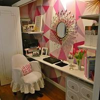 Gorgeous Shiny Things - dens/libraries/offices - bi-fold, doors, god, trim, hand painted, pink, geometric, pattern accent wall, sunburst, mirror, white, floating desk, gray, Dorothy Draper, style, chest, white, slipcover, chair, closet office, office in closet, closet desk, desk in closet, closet work space, work space in closet, closet converted into office, converted closet office, converted office closet,
