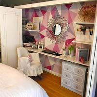 Gorgeous Shiny Things - dens/libraries/offices - C2 - Mod - pink, geometric, pattern, han painted, walls, sunburst, mirror, gray, Dorothy Draper, style, chest, white, floating, desk, closet, white, slipcover, chair, closet office, office in closet, closet desk, desk in closet, closet work space, work space in closet, closet converted into office, converted closet office, converted office closet,
