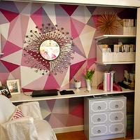 Gorgeous Shiny Things - dens/libraries/offices - C2 - Mod - white, slipcover, chair, sunburst, mirror, gray, Dorothy Draper, style, chest, white, floating desk, hand painted, pink, geometric, pattern accent wall, closet desk, closet office,