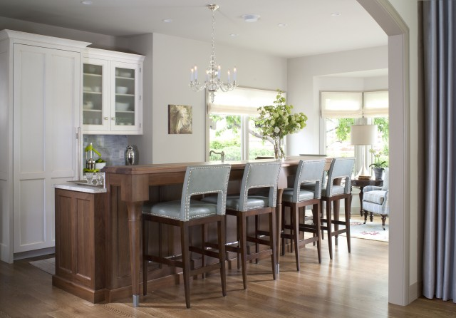 Exquisite Kitchen Design - kitchens - gray, walls, blue, velvet, counter stools, nailhead trim, white, kitchen cabinets, coffee stained, kitchen island, breakfast, bar, blue bar stools, blue velvet bar stools, blue counter stool, blue velvet counter stool,