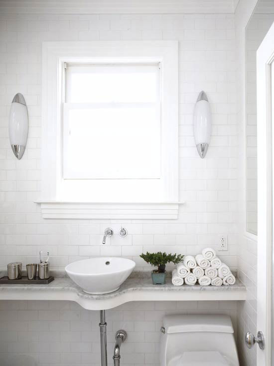 BHG - bathrooms - subway tiles, backsplash, marble, top, floating, bathroom vanity, round, vessel, sink, window, wall-mount, faucet, kit,  Chic