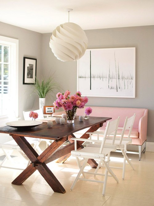 BHG - dining rooms - gray, walls, pink, settee, x-base, wood, dining table, white, director's chairs, white, ripple, pendant, x dining table, x base dining table, pink sofa,