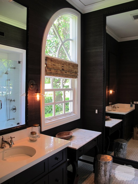 Amber Interiors - bathrooms - black, grasscloth, wallpaper, black, ornate, mirror, black, single, bathroom, vanity, bamboo, roman shade, silver, stool, black grasscloth, black grasscloth wallpaper,