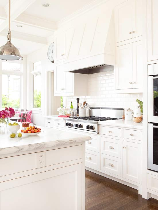 ... double ovens, built-in, banquette, all white kitchen, white kitchen