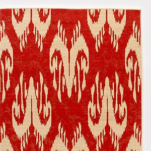 Rugs - 4.9' x 6.9' Red Ikat Rio Indoor-Outdoor Rug | Outdoor and Patio Decor| Home Decor | World Market - red, ikat, rug