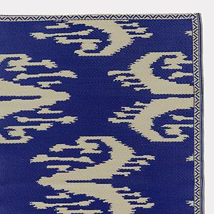 4' x 6' Blue and White Ikat Rio Mat, Outdoor and Patio Decor| Home Decor, World Market