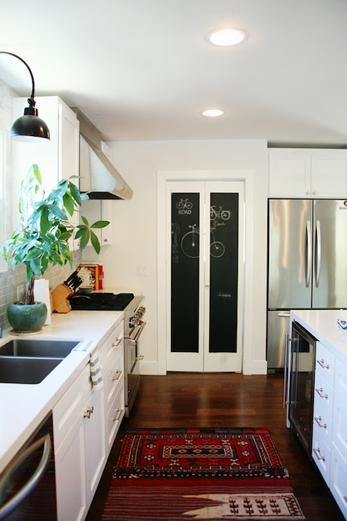 Kitchen chalkboard transitional kitchen amber interiors for Bi fold doors for kitchen cabinets