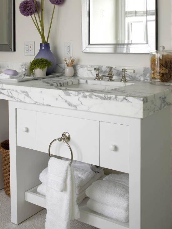 White Bathroom Double Vanity: White Bathroom Vanity With Marble Top