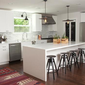 Amber Interiors - kitchens - saucer, pendants, chalkboard, bi-fold, doors, white, shaker, kitchen cabinets, kitchen island, quartz, countertops, marble, subway tiles, backsplash, industrial, counter stools, industrial bar stools, industrial counter stools,