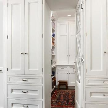 Exquisite Kitchen Design - kitchens - walk-in, pantry, white, kitchen cabinets, flanking, secret, mirrored, pantry, door, hidden pantry, hidden pantry doors,