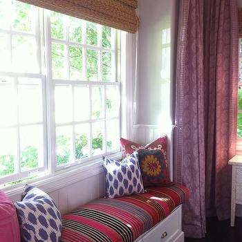 Amber Interiors - bedrooms - purple, ikat, pillows, built-in, window seat, striped, cushion, beadboard, backsplash, plum, paisley, pattern, drapes, window seat, bedroom window seat, window seat in bedroom, Ikat Pillow- Purple,