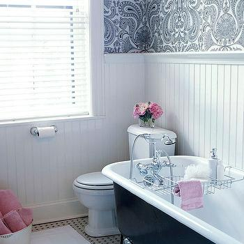 BHG - bathrooms - black, white, damask, wallpaper, clawfoot, tub, marble, basketweave, tiles, floor, beadboard, backsplash, pink, towels, beadboard backsplash, beadboard bathroom, bathroom beadboard, white beadboard, white beadboard backsplash, white beadboard bathroom,