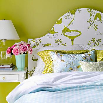 BHG - girl's rooms - green, walls, blue, green, bedding, white, nightstand, turquoise, blue, vase, glass, lamp, lime green walls,  Blue & green