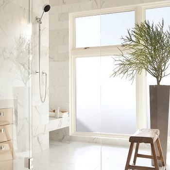 John Maniscalco Architecture - bathrooms - rain, shower head, seamless glass shower, marble, tiles, shower surround, marble, shower, bench, glass shower, shower design, glass shower design,
