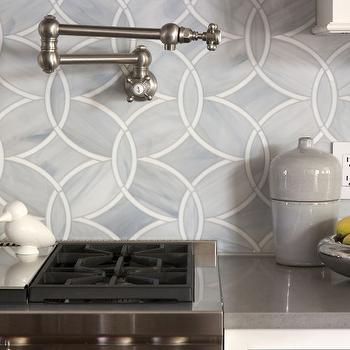Exquisite Kitchen Design - kitchens - pot filler, Caesarstone, countertops, pebble, ann sacks tiles, ann sacks kitchen tiles, ann sacks kitchen backsplash, ann sacks backsplash, Ann Sacks Beau Monde Glass Tiles - Polly in Absolute White and Pearl,