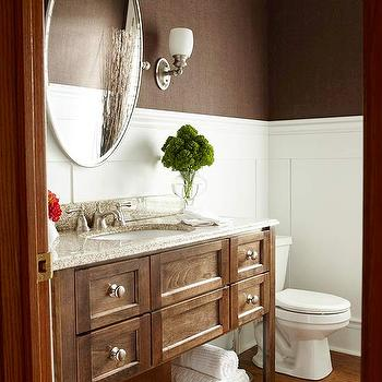 BHG - bathrooms - chocolate, brown, grasscloth, wallpaper, oval, pivot, mirror, single bathroom vanity, granite, top, hardwood, floors, brown grasscloth, brown grasscloth wallpaper, chocolate brown grasscloth, chocolate brown grasscloth wallpaper,