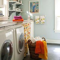 BHG - laundry/mud rooms - blue, walls, schoolhouse, pendant, white, front-load, washer, dryer, Corian, countertop, iron, corbels,  Adorable,