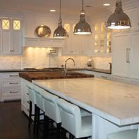 Grothouse Lumber - kitchens - white, kitchen cabinets, pot filler, marble, subway tiles, backsplash, square kitchen island, 4-inch, thick, walnut, top, drop down, marble, top, kitchen island, white, leather, counter stools, industrial, pendants,