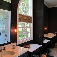 Amber Interiors - bathrooms - black, grasscloth, wallpaper, black, ornate, mirror, black, single, bathroom, vanity, bamboo, roman shade, silver, stool,
