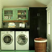 BHG - laundry/mud rooms - schoolhouse, pendant, green, painted, floor, white, washer, dryer, green, washed, glass-front, cabinet, black, cabinet,