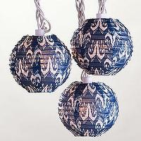 Decor/Accessories - Limoge Ikat Paper String Lights, Set of 10 | Lighting| Home Decor | World Market - limoge, ikat, paper, lanterns
