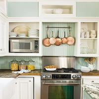 BHG - kitchens - white, kitchen cabinets, wood, countertops, seafoam, green, painted, beadboard, backsplash, copper, pots, pans, beadboard backsplash, beadboard kitchen, kitchen beadboard, green beadboard, green beadboard backsplash,