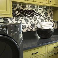 BHG - laundry/mud rooms - green, cabinets, black, granite, countertops, ivory, black, floral, wallpaper, black, fron-load, washer, dryer,  Green