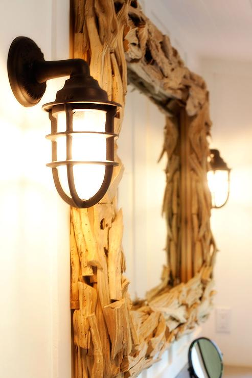 Kruger Design Studio - bathrooms - Benjamin Moore - Simply White - seaside nautical coastal vanity mirror drift wood sconces, driftwood mirror, rectangular driftwood mirror, rectangle driftwood mirror,
