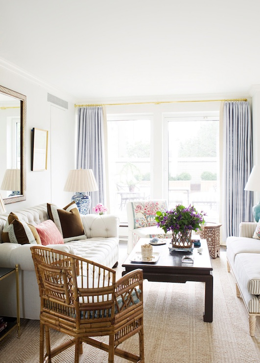 Suzie: Ashley Whittaker Design - Amazing living room with lilac curtains window panels, white ...