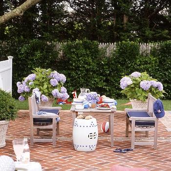 Ashley Whittaker Design - decks/patios - brick, pavement, herringbone, pattern, outdoor, furniture, white, garden, stool, garden stool, white stool, white garden stool,