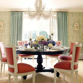 Ashley Whittaker Design - dining rooms - teal, drapes, ivory, teal, wallpaper, white, coral, chandelier, glossy, wood, pedestal, dining table, red, french, back, dining chairs. diamond, pattern, wool, rug, red dining chairs,